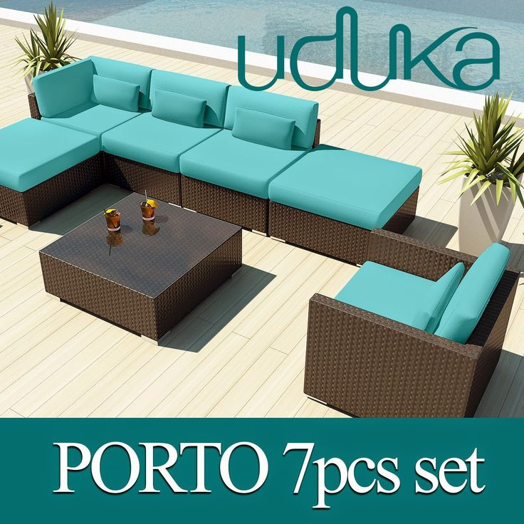 Uduka Outdoor Sectional Patio Furniture Espresso Brown Wicker Sofa Set  Porto 7 Turquoise All Weather Couch