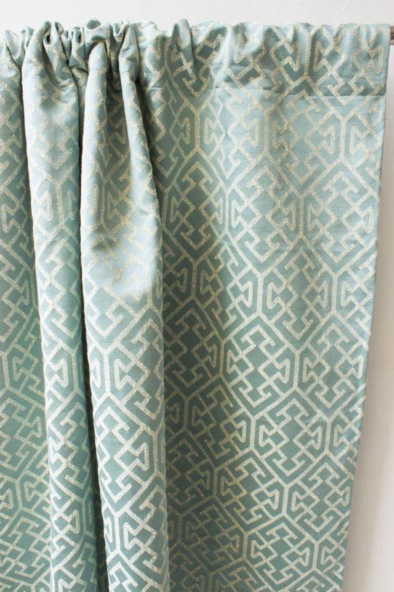 Greek Teal Jacquard Window Curtain Panels Custom By Fabricasia
