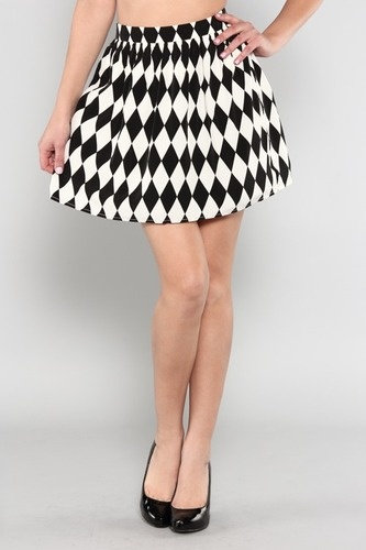 Black And White Checkered Skater Skirt