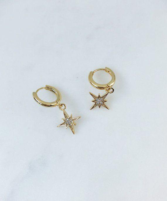 0873ce65c8ad8 Huggie earrings, huggie hoop earrings, starburst huggies, star ...