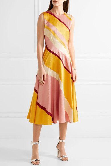 Roksanda - Lucine Striped Hammered Silk-satin Midi Dress - Yellow - UK12