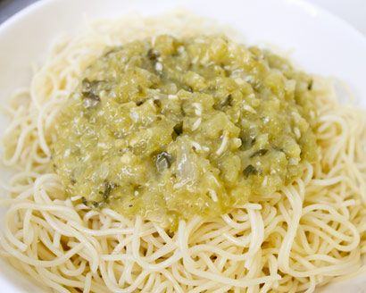Green Tomato Pasta Sauce...considering my tomatoes are not ripening, I may need recipes like this! lol