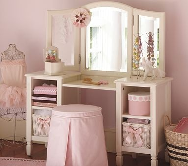 Vanity Table | PBK |   Pottery Barn Kids??!?!?? Wouldn't you know it! I don't purposefully end up in the children's department ... but the pink + white + ruffles + scalloped edges catch my eye.