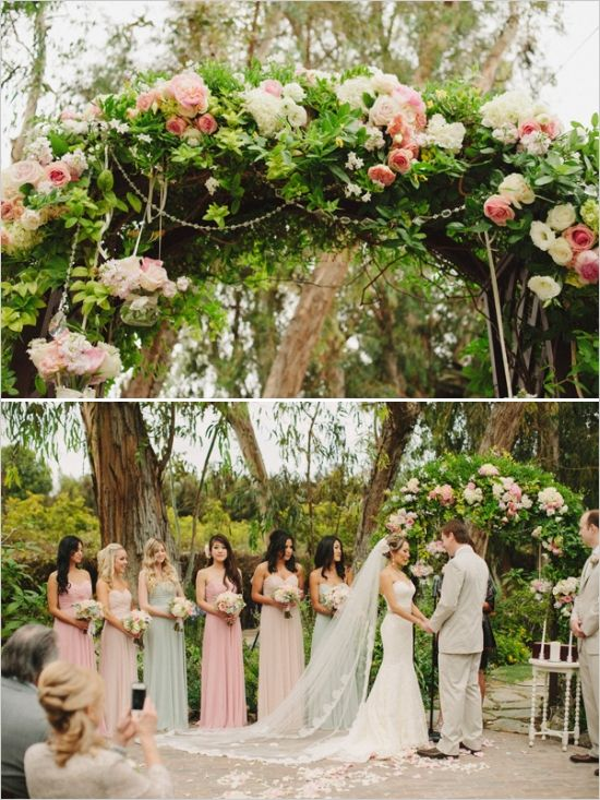 I like how the brides maids have different shades dresses. maybe we could do different shades of pink