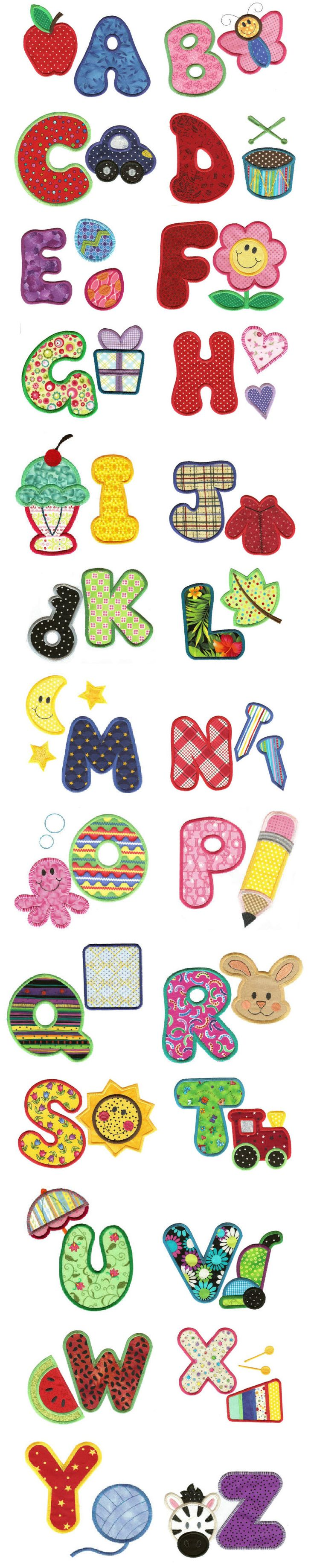 My ABCs Applique Alphabet  | Designs By Juju  {9oct13 Source accessed}