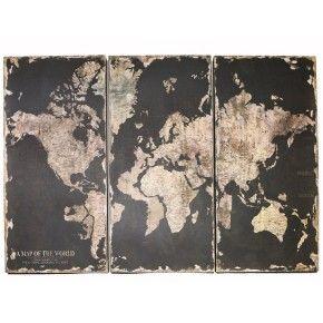 3-delige wandplaat van hout met afbeelding van globe wereldkaart nu € 59,95