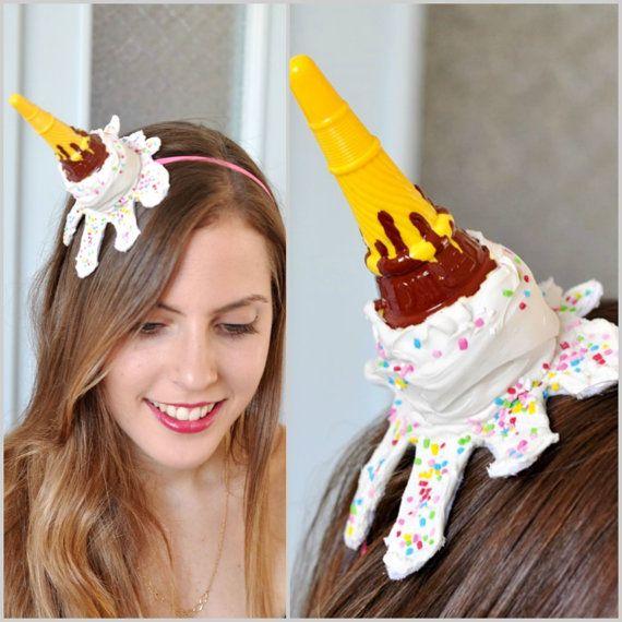 Ice Cream Cone Fascinator , Ice Cream Cone Headband ,Ice Cream Hat,  ice cream Cone Halloween Costume , ice cream cone photo prop