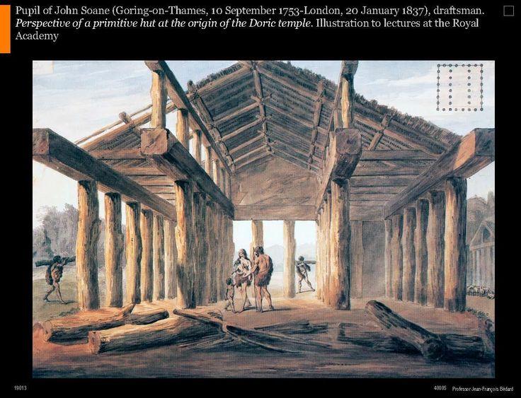 Pupil of John Soane, Perspective of a primitive hut at the origin of the Doric temple