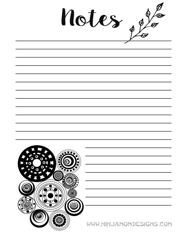 Free Zentangle Notes Planner Insert