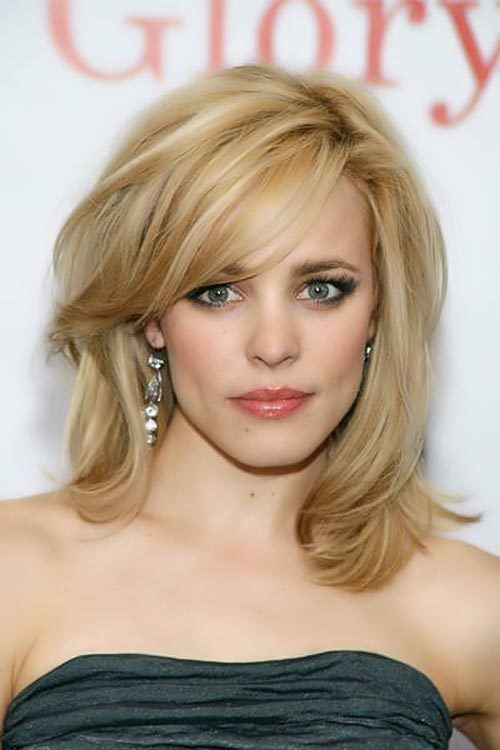 rachel mcadams medium length hair with layers and side swept bangs