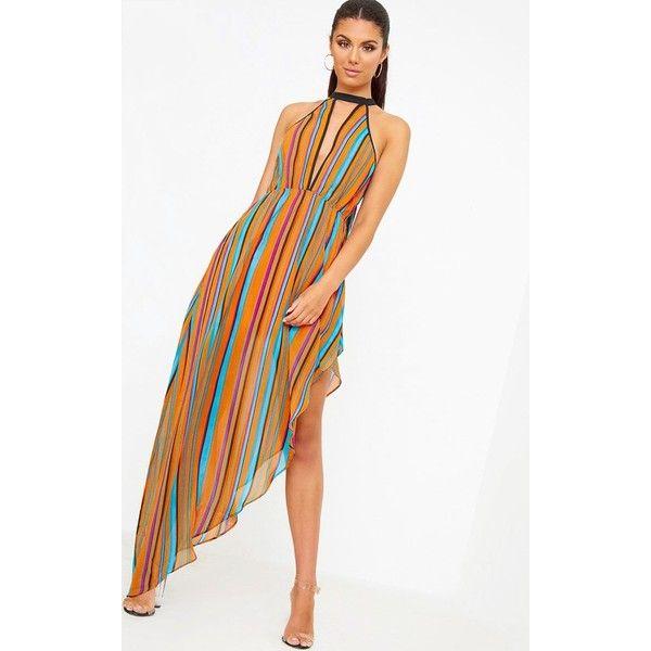 Orange Plunge Stripe Maxi Dress ($39) ❤ liked on Polyvore featuring dresses, stripe maxi dress, plunge-neck dresses, orange summer dresses, striped maxi dress and summer dresses