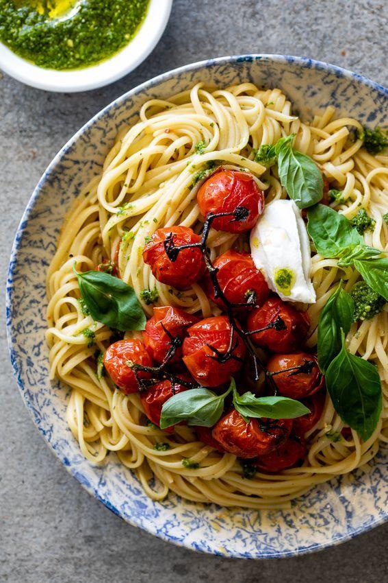Roasted Tomato Pesto Pasta With Ricotta Recipe Pesto Pasta