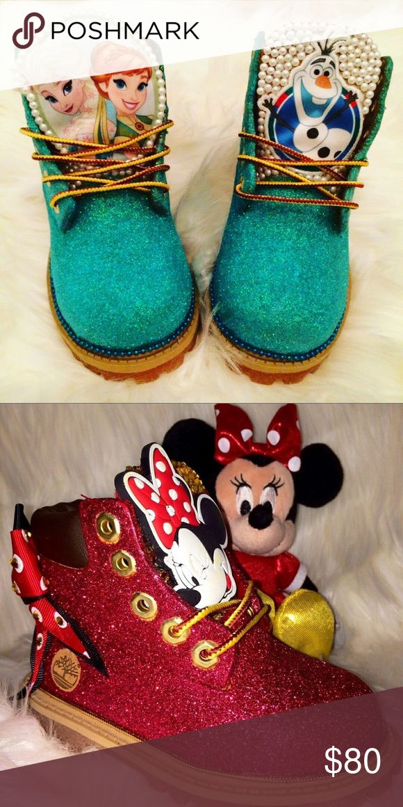 Kids Custom Timberland Frozen & Minnie Mouse ! Link in bio to order Timberland Shoes Boots