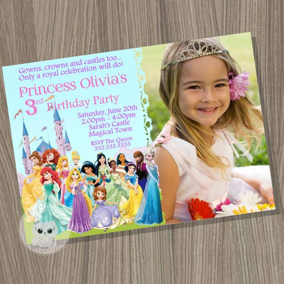 Disney Princess Invitation, Princess Birthday Invitation, Disney Princess Party, Princess Invitation, Disney Princess, Princess Birthday by CutePixels. ★ Matching Party Decorations http://etsy.me/1JwJ77m and Thank You Cards http://etsy.me/1DSqs3D εїз WHAT IS IT? ☀ This listing is for an Invitation you will receive as a digital file (JPEG) for you to print or send by mail. ☀ It comes as shown on photos, personalized with your details and wording. For design modifications, bleed lines…