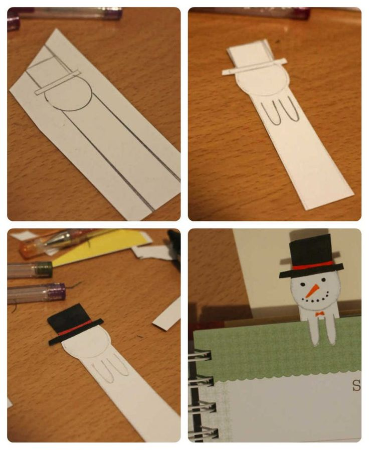 easy to do snowman paper bookmark diy