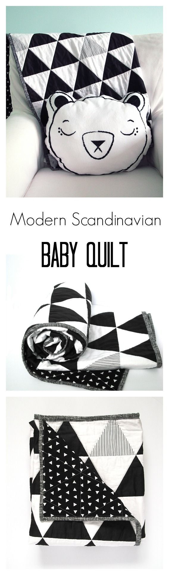 Modern Scandinavian inspired black and white baby quilt