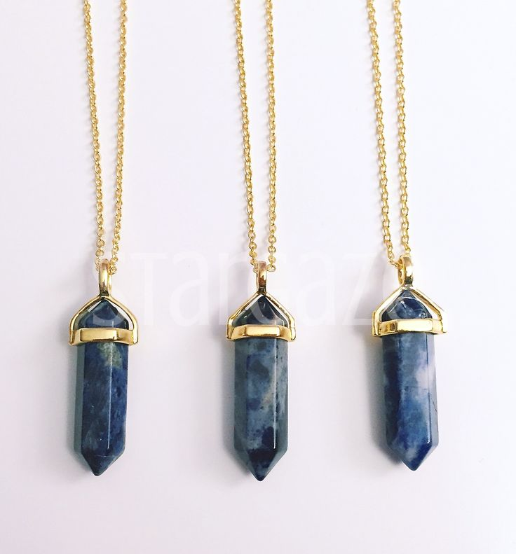 Sodalite on gold stargaze jewelry