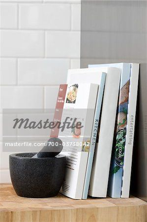 Mortar and Pestle and Cookbooks