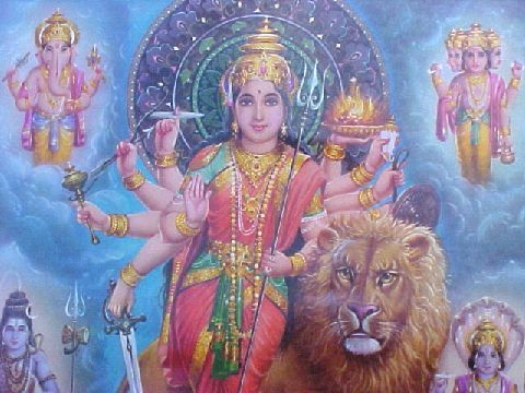 Goddess with lion