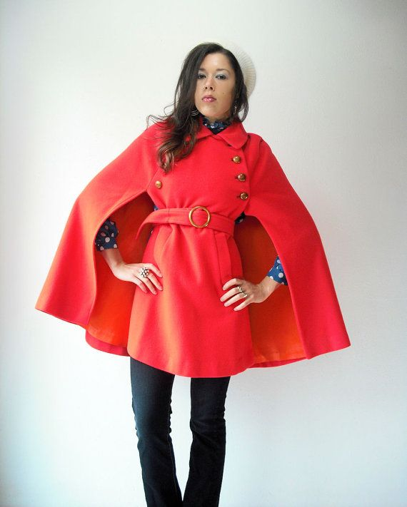 60's Vintage Wool Bright Orange Red Military Poncho Cape Coat with Waist Belt and Pockets. $138.00, via Etsy.