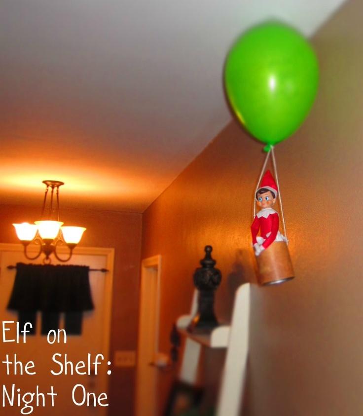 Hot air Balloon  - elf on the shelf: Hot Air Balloon, Air Balloon Riding, Cute Ideas, Bears Mouths, Balloon Elf, Elf On Shelf, Shelf Ideas, Shorts Hair Style, Photography Ideas