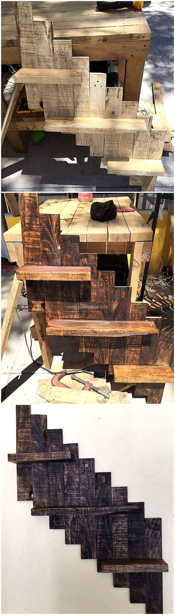 wood pallet wall shelving art