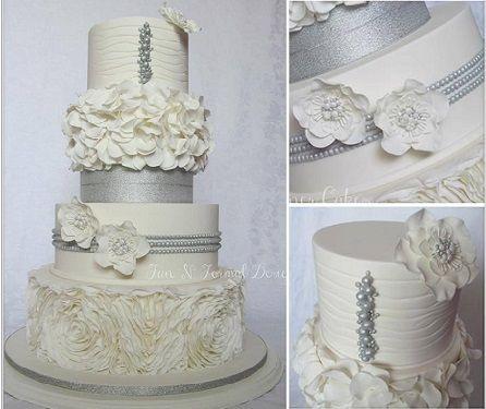 silver anniversary cake design, cake by Fun n Formal Designer Cakes