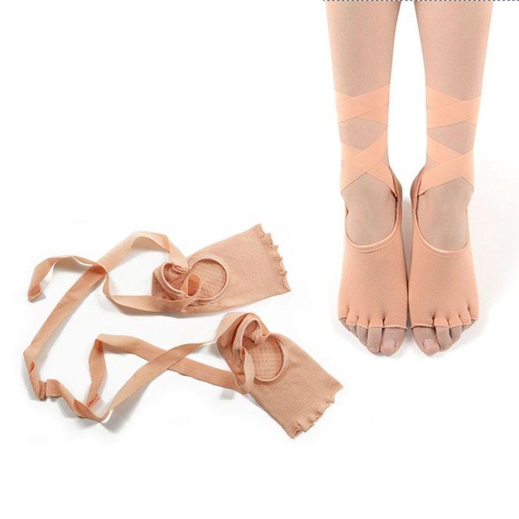 2 Colors Women Yoga Socks Paired Ladies Gym Yoga Sock Dancing Anti-slip Five Toe Cotton Sock With Ribbon Fast