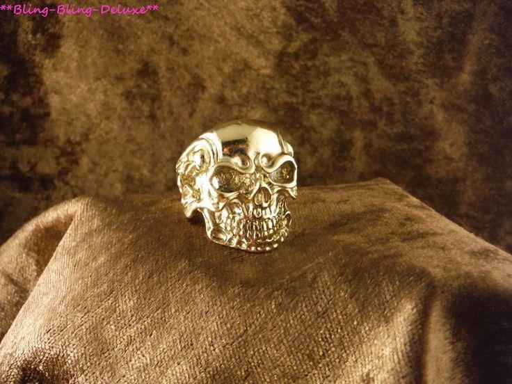 Biker Ring Totenkopf 24 Karat Vergoldet Rocker Punk Skull Edelstahl Gold Schädel