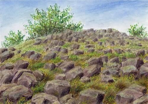 Lovoš basalt at the České středohoří, northern Bohemia, watercolor by Jana Haasová