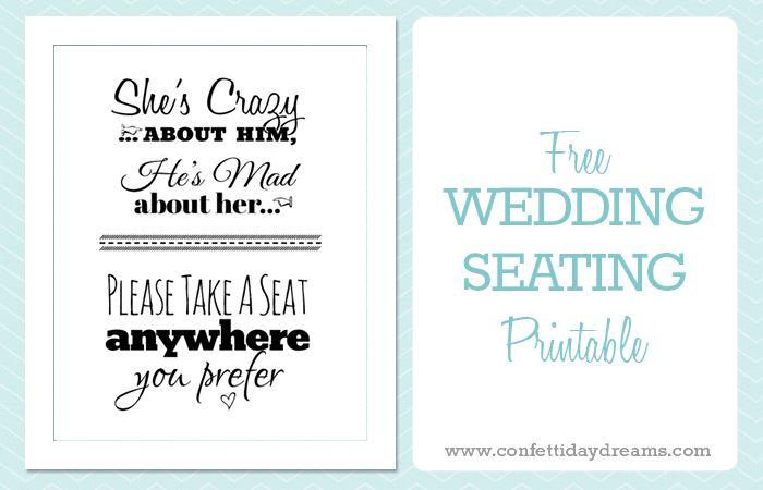 Pick A Seat wedding Sign Free Printable