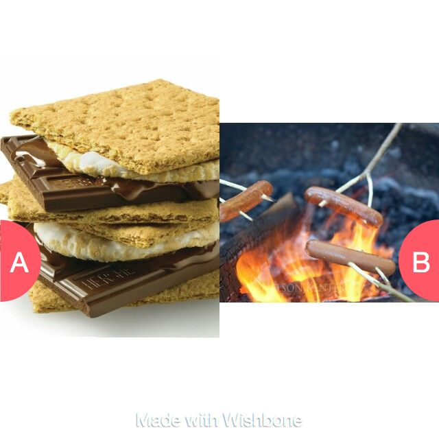 S'mores or over the fire hot dogs? Click here to vote @ http://getwishboneapp.com/share/19297578