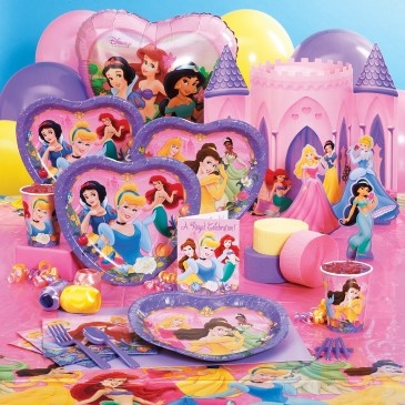 Disney Princess Dreams Deluxe Party Pack for 8   Includes 8 invitations, heart-shaped dinner plates, cups, forks, spoons, solid-color activity placemats,16 napkins, Disney Princess Dreams tablecover, centerpiece, foil balloon, 18 balloons (3 colors), curling ribbon (3 colors), crepe paper rolls (3 colors), and cake candles.   $39.99