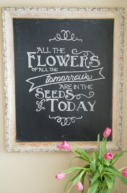 Easy DIY Spring Chalkboard Art with printable template and tutorial!