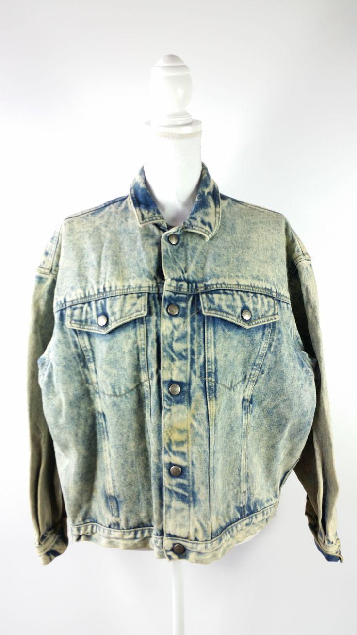 Vintage 80s Calvin Klein Blue Acid Wash Jean Denim Jacket Sz Large