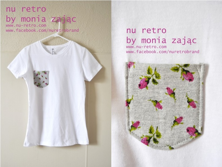 Awesome 100% cotton T-shirt with cool cotton pocket ( rose pattern) .   Designed and made by Monia Zając NU RETRO  size: Medium ( US)