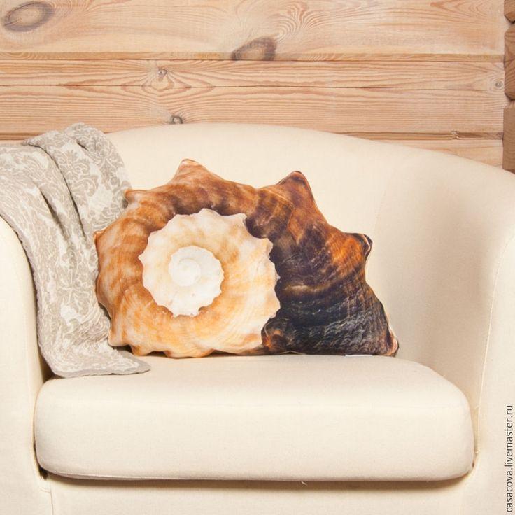 Купить Морская раковина – льняная декоративная подушка в форме раковины - декоративная подушка