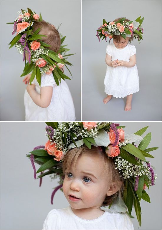 Simple flower girl look with 4 step floral crown DIY. Captured By: Natalie Probst #weddingchicks http://www.weddingchicks.com/2014/06/16/this-diy-crown-is-a-must-for-your-flower-girl/
