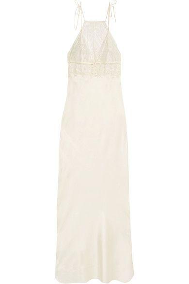 Stella McCartney - Ophelia Whispering Stretch-leavers Lace And Silk-blend Satin Chemise - Ivory -