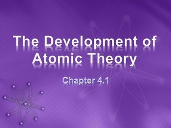 Physical Science: 4.1 The Development of Atomic TheoryPowerPoint Presentation (4.1 of 18.3)* Unit 2*This is part of a series based upon chapters and sectionsTopics: Democritus, atoms, John Dalton, Law of Definite Proportions, J.J. Thomson, Plum Pudding model, electrons, Ernest Rutherford, gold-foil experiment, nucleus, protons, neutrons, Niels Bohr, electron energy levels, modern wave model