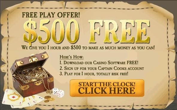 Free play at Casino Rewards Group - Captain Cook's Casino. It's an unbeatable offer, $500 and 1 hour free for all new players and you get to keep what you win. Signing up with Captain Cook's Casino not only means the best online gaming experience available but you will also have access to the Casino Rewards Group loyalty program which is in a league of its own. Here you will not only accumulate loyalty points which can be redeemed at one of 29 casinos of the group.