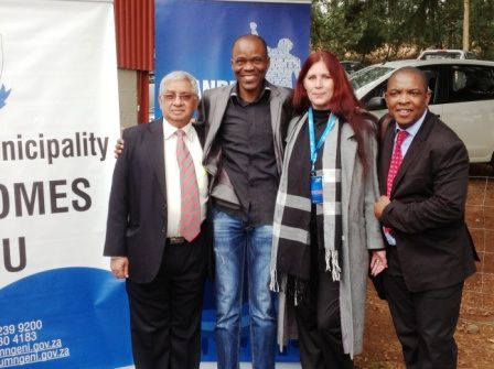 L2R ~ #ROC Mayor of uMgungundlovu District Municipality, Cllr Y Bhamjee, President KZNA Mr Sello Mokoena, @Donnette Melcolm Fry (Head of Social Media #MandelaMarathon Race Organising Committee), and the way-too-energetic, enigmatic, delightful, no-nonsense #Makeithappen, Mr Sibusiso Khuzwayo, Mayor of uMDM