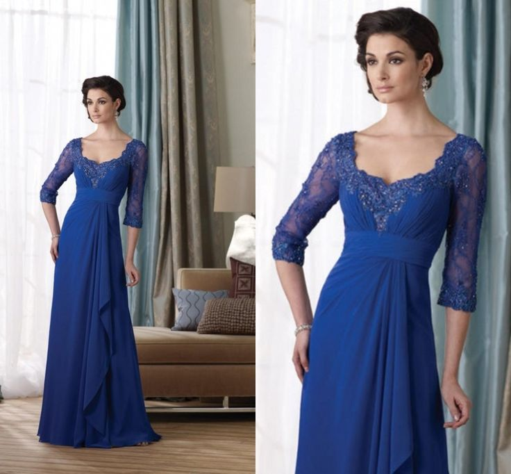 DM040 Elegant Full Length Chiffon Royal Blue Mother of the Bride Evening Dress with Lace Sleeves US $142.00