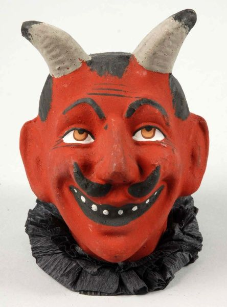 """Composition Devil Head Candy Container.  Description German. Extremely rare. Original eyes and mouth. No paint loss or damage. Condition (Near Mint Plus). Size 4"""" T."""