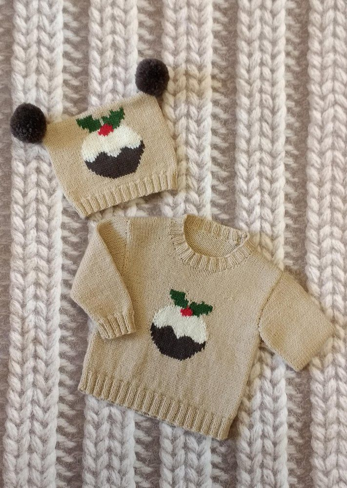 My Little Pudding is a lovely 4ply knitting pattern for ages 0-5 years. Pattern includes written instructions for jumper and teabag hat with cute little christmas pudding knitted on the front