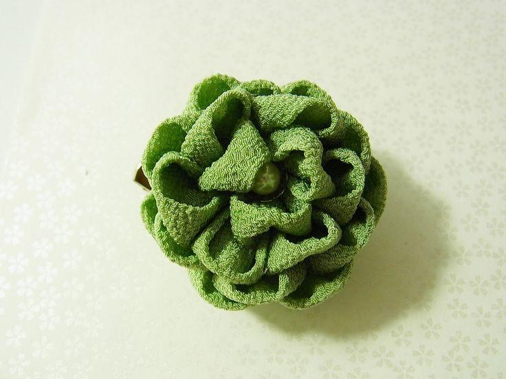 Tsumami Kanzashi flower brooch and hair clip  Kimono Japanese Chirimen - BOTAN Peony (light green) by chirimenbunny on Etsy