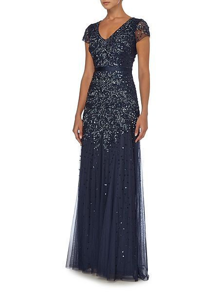 Jewel sequin dress with flutter sleeves