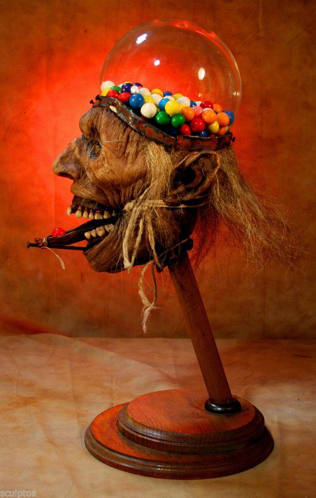 Kuebler real gumball machine human skull shrunken head for Zombie tattoo machine