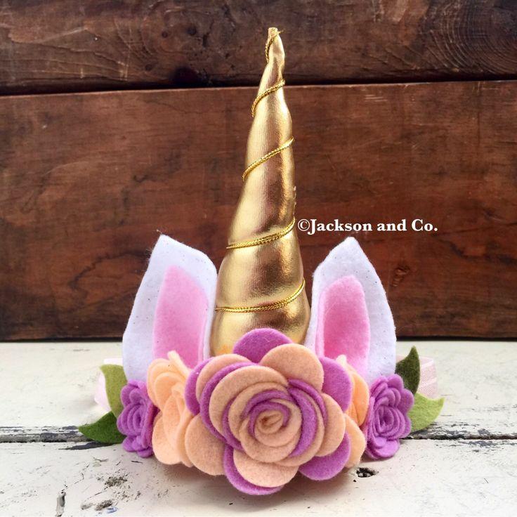 Unicorn Headband, Felt Flower Unicorn Headband, Felt Flower Crown, Smash Cake, Newborn Photo Prop, Birthday Headband, Unicorn Crown by JacksonandCo on Etsy https://www.etsy.com/listing/469046642/unicorn-headband-felt-flower-unicorn