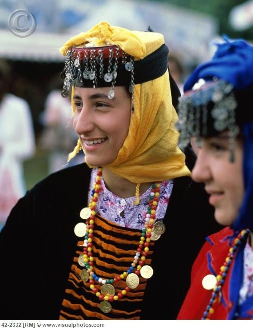 Girl Dressed in National Costume, Istanbul, Turkey Stock Photo